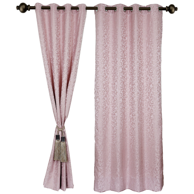 Urban Hues Eyelet Polyester Jacquard Fabric Window, Door Curtains-Pink