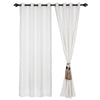 Urban Hues Eyelet Polyester Jacquard Fabric Window, Door Curtains-White