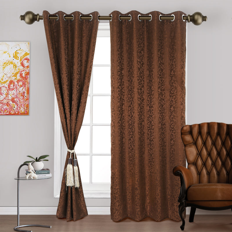 Urban Hues Eyelet Polyester Jacquard Fabric Window, Door Curtains-Brown