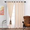Urban Hues Eyelet Polyester Jacquard Fabric Window, Door Curtains-Beige