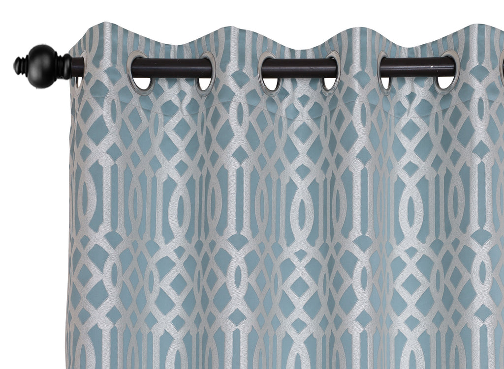 Urban Hues Polyester Jacquard Window, Door Curtains-Green-Mint