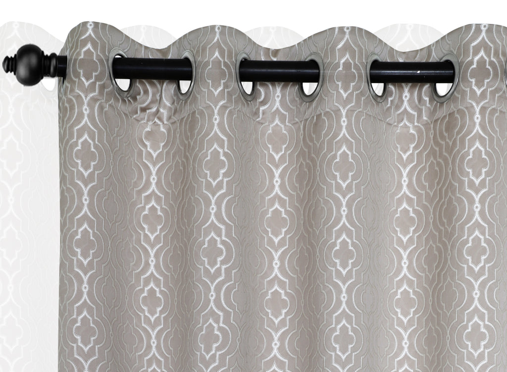 Urban Hues Polyester Jacquard Window, Door Curtains-Light Brown