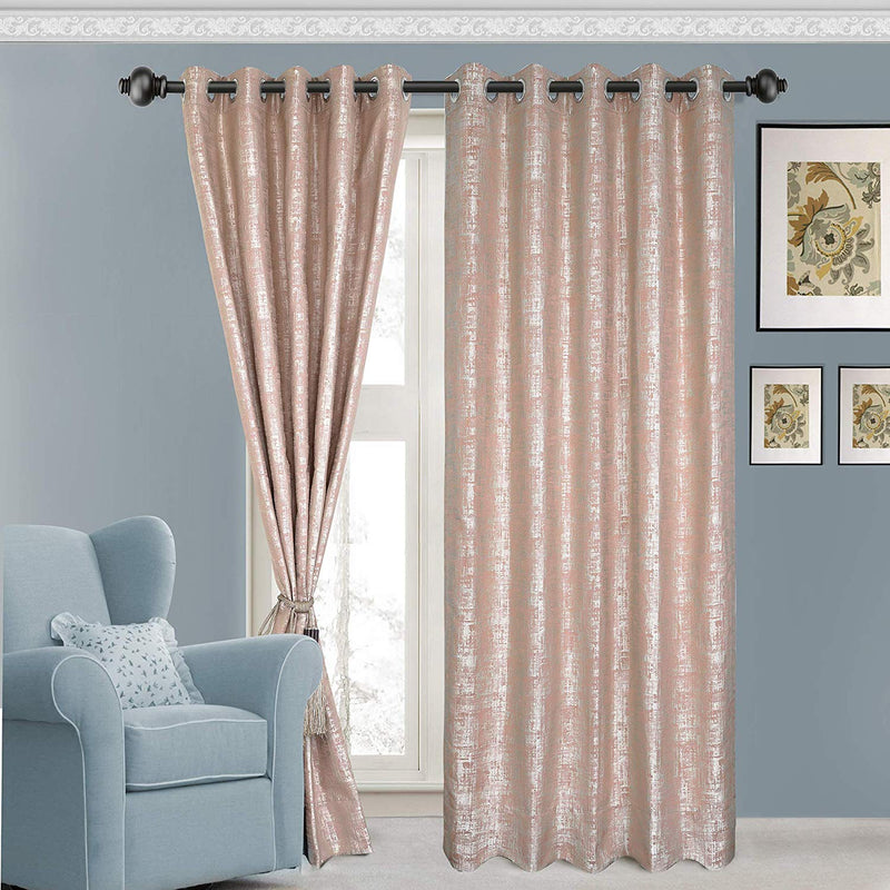 Urban Hues Polyester Jacquard Window, Door Curtains-Rose Gold-Pink