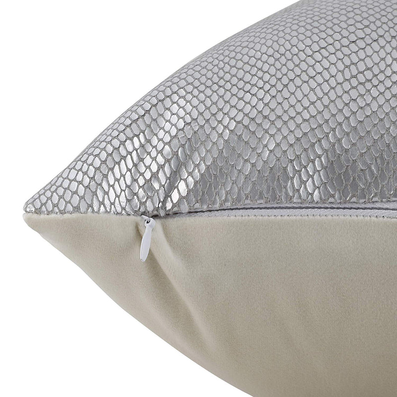 Urban Hues Designer Cushion Cover -1 pc (Silver & Grey)