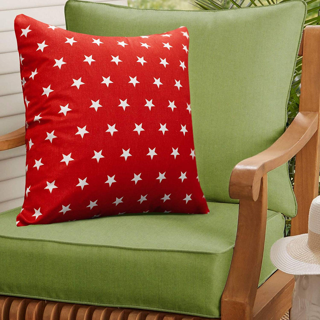 Urban Hues 100% Cotton Kid's Cushion Cover-1 pc (3D Star, Red-White)