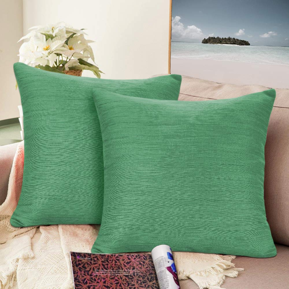 Urban hues Silk and Cotton Luxuries Solid Cushion Cover (Green)