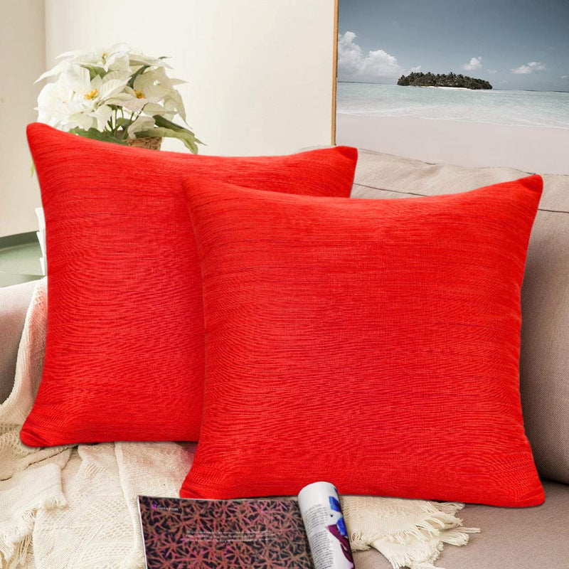 Urban hues Silk and Cotton Luxuries Solid Cushion Cover (Red Maroon)