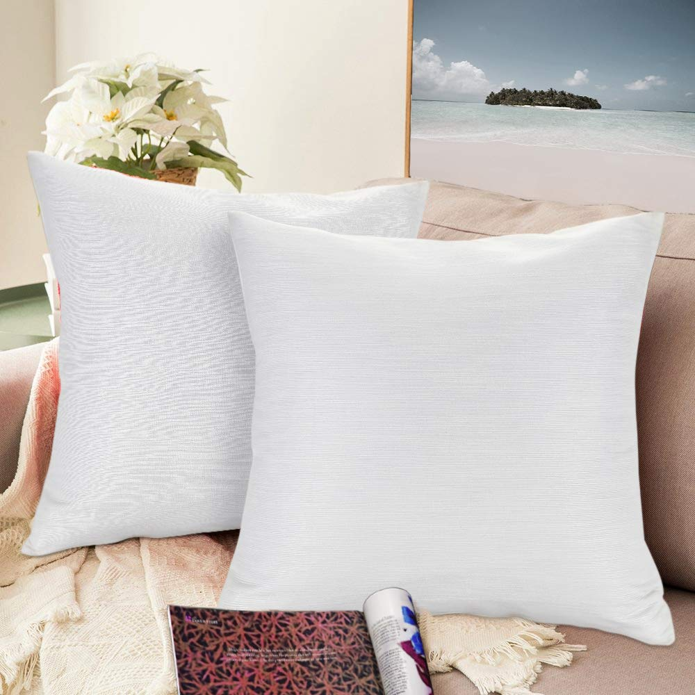 Urban hues Silk and Cotton Luxuries Solid Cushion Cover (White)
