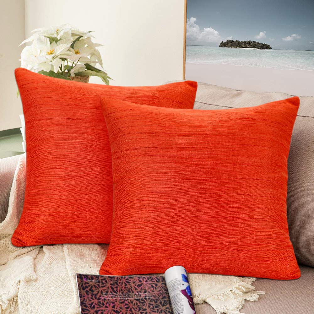 Urban hues Silk and Cotton Luxuries Solid Cushion Cover (Orange)