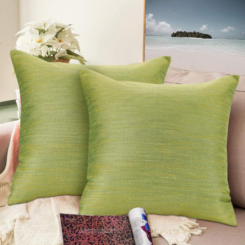 Urban hues Silk and Cotton Luxuries Solid Cushion Cover (Yellow-Green)
