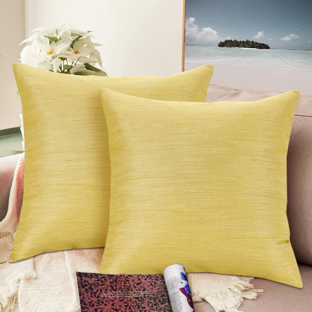Urban hues Silk and Cotton Luxuries Solid Cushion Cover (Lemon)