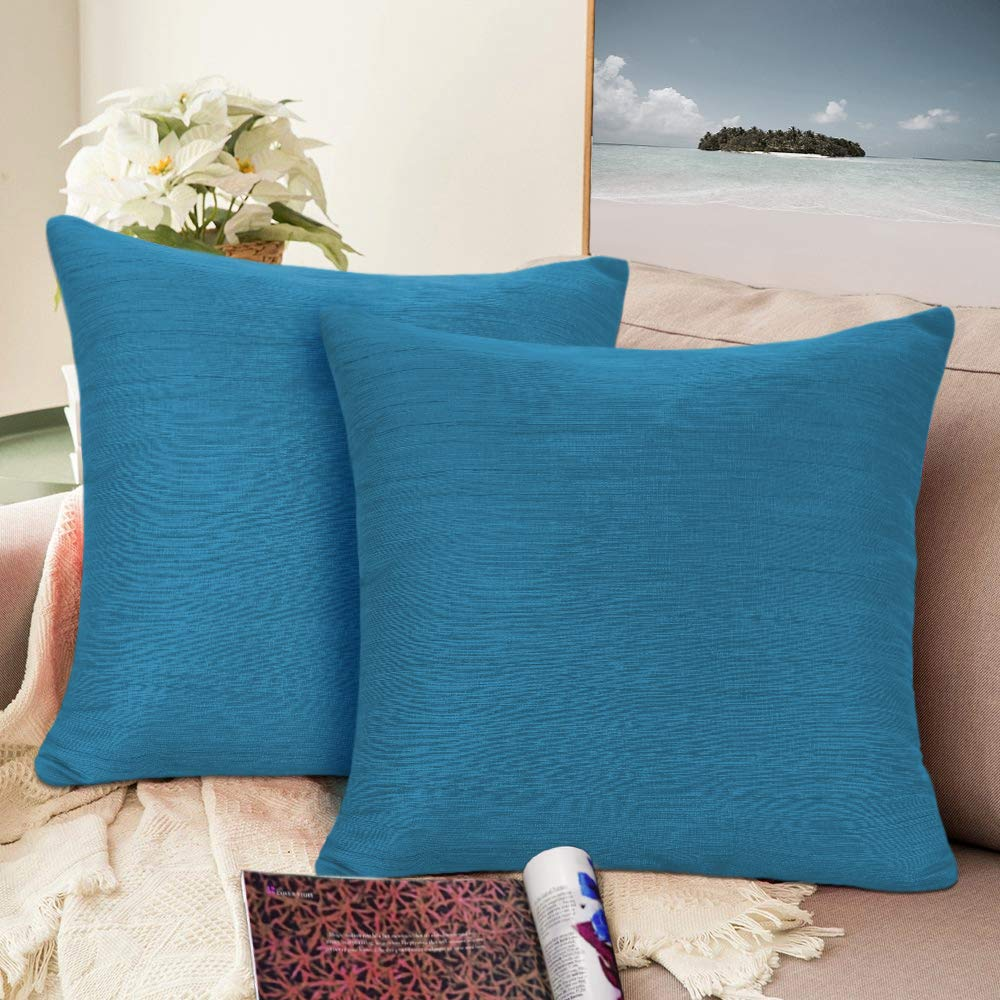 Urban hues Silk and Cotton Luxuries Solid Cushion Cover (Blue)