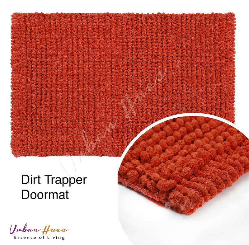 Urban Hues Orange Super Absorbent Soft Non-Skid Shaggy  Doormat-16X24 Inch (Set of 2 Pcs)
