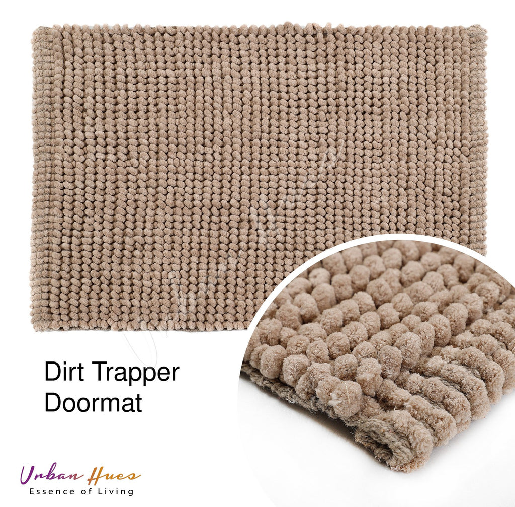 Urban Hues Beige Super Absorbent Soft Non-Skid Shaggy  Doormat-16X24 Inch (Set of 2 Pcs)