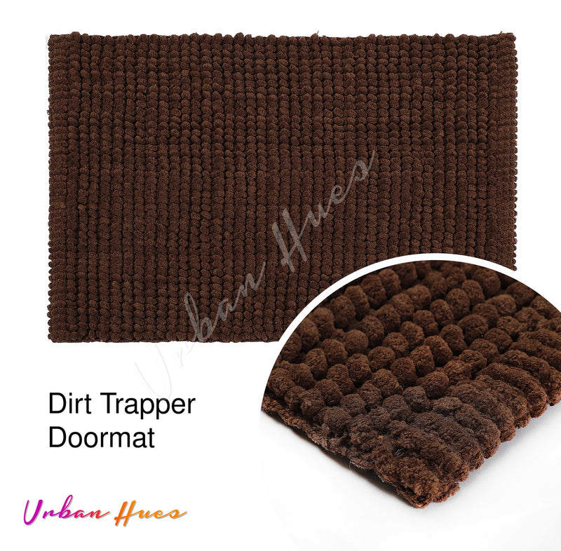 Urban Hues Brown Super Absorbent Soft Non-Skid Shaggy  Doormat-16X24 Inch (Set of 2 Pcs)