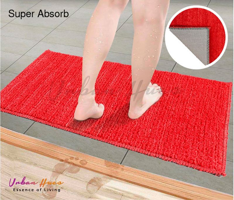 Urban Hues Red Super Absorbent Soft Non-Skid Shaggy  Doormat-16X24 Inch (Set of 2 Pcs)