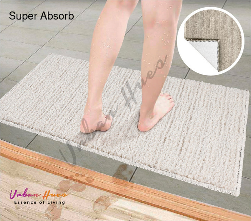 Urban Hues Off white Super Absorbent Soft Non-Skid Shaggy  Doormat-16X24 Inch (Set of 2 Pcs)