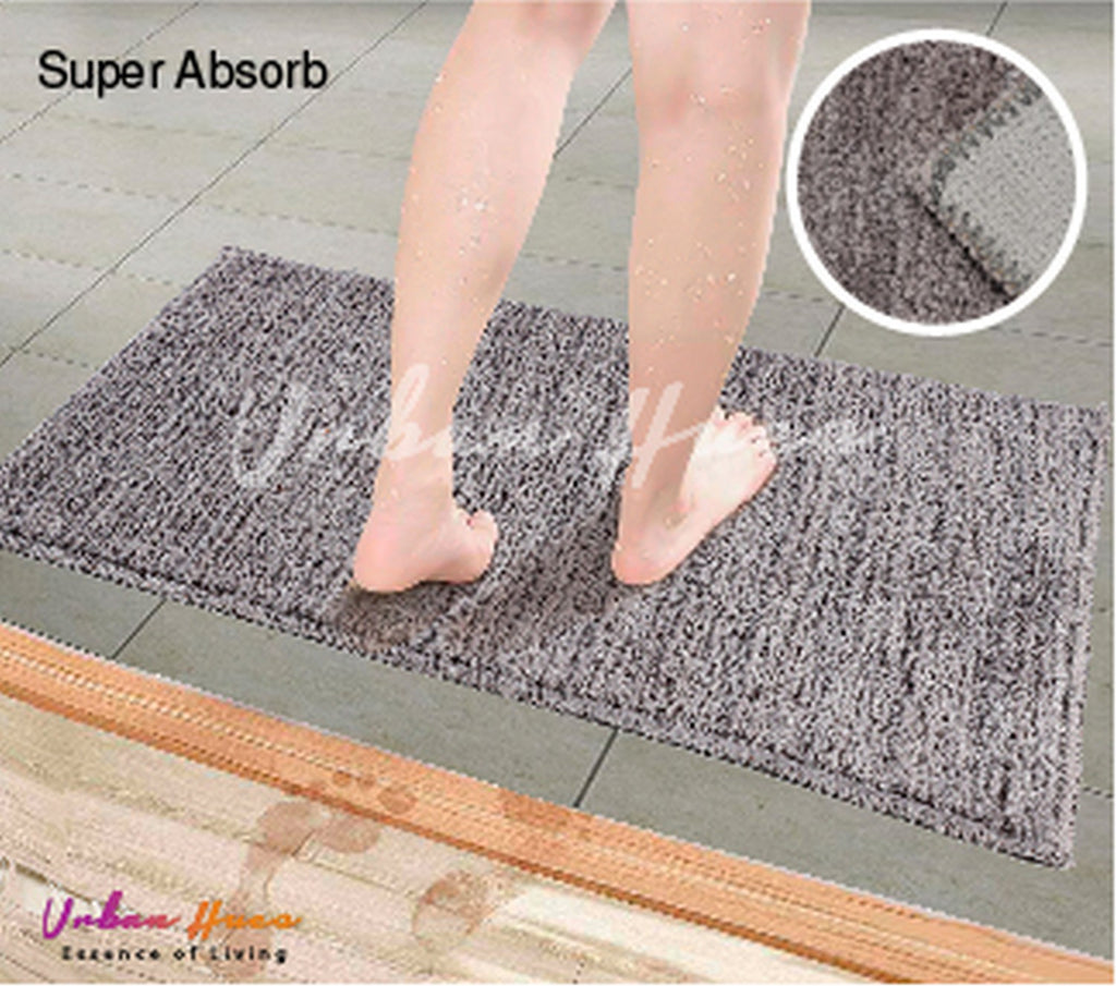 Urban Hues Grey Super Absorbent Soft Non-Skid Shaggy  Doormat-16X24 Inch (Set of 2 Pcs)