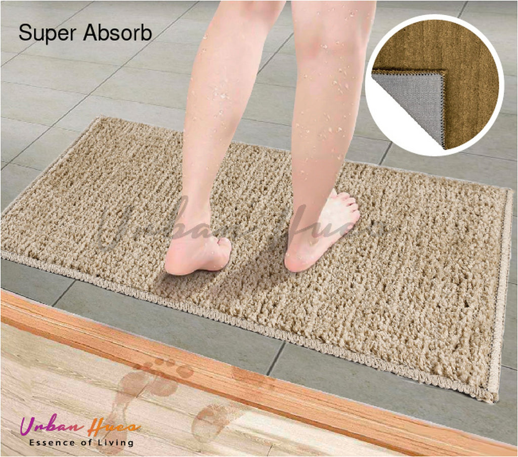 Urban Hues military green Super Absorbent Soft Non-Skid Shaggy  Doormat-16X24 Inch (Set of 2 Pcs)