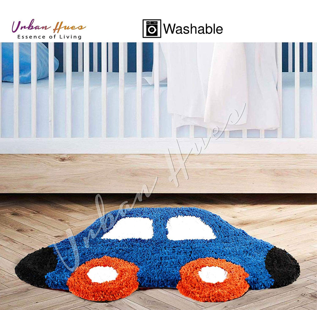 Urban Hues Kid's Cartoon Theme Special Blue Car Design Shaggy doormat/Rugs-1pc