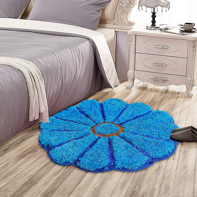 Urban Hues Special-Shaped 3D Sunflower Shaggy Doormat (Blue)
