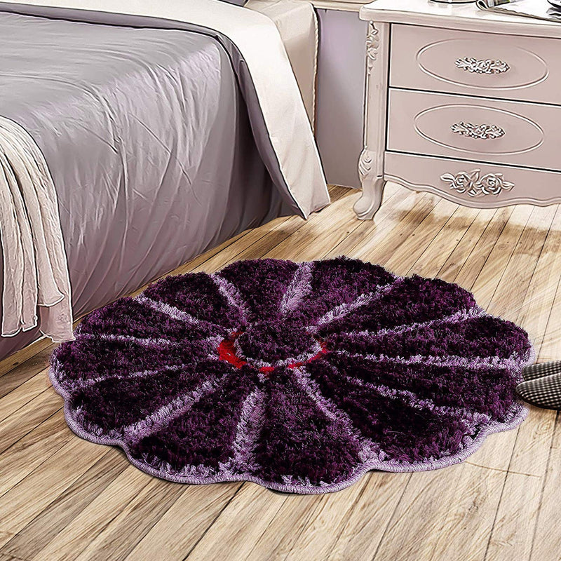 Urban Hues Special-Shaped 3D Sunflower Shaggy Doormat(30 X 30 Inch) - Purple