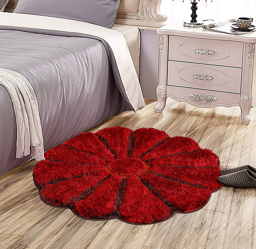 Urban Hues Special-Shaped 3D Sunflower Shaggy Doormat (Red)