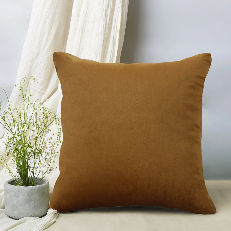 Urban Hues Modern Velvet Cushion Cover Super Soft Pack of 1-(Golden)