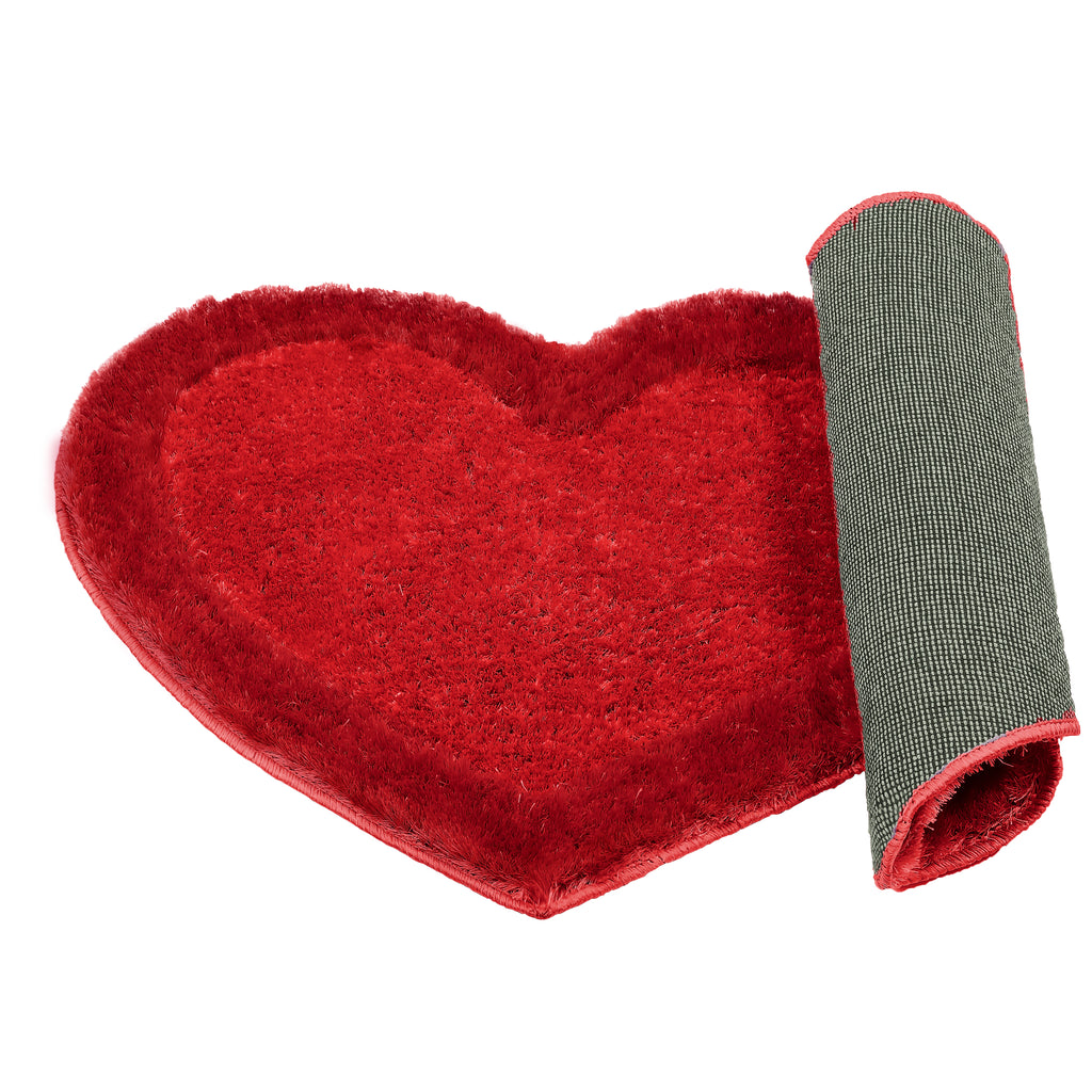 Urban Hues Heart shape Rugs/ Doormat- 53x22 inch (1 Piece)-Red