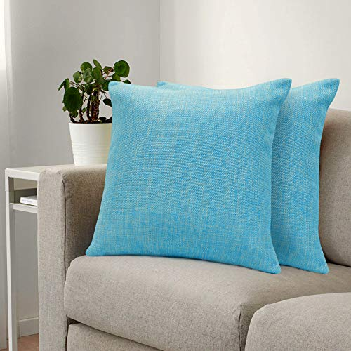 Urban Hues Plain Solid Jute Cushion Covers - Set of 1 (Sky Blue)