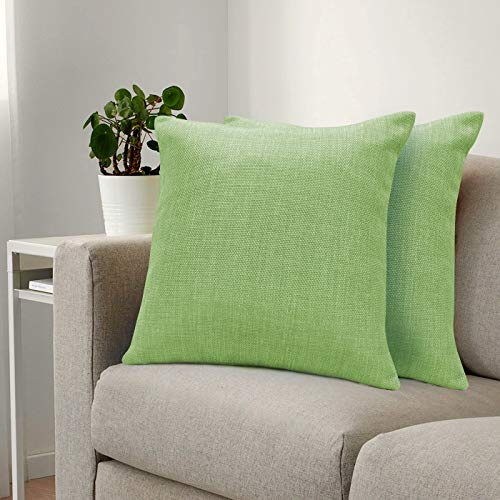 Urban Hues Plain Solid Jute Cushion Covers - Set of 1 (Olive Green)
