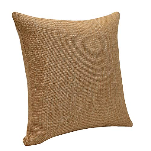 Urban Hues Plain Solid Jute Cushion Covers - Set of 1 (Brown)