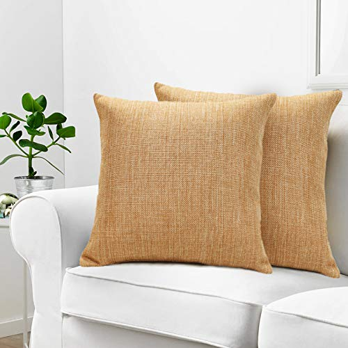 Urban Hues Plain Solid Jute Cushion Covers - Set of 1 (Light Brown)
