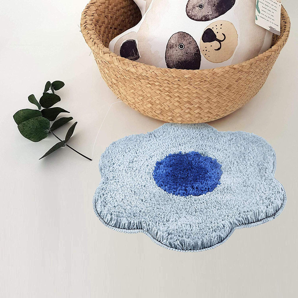 Urban Hues Grey & Blue Unique Flower Shape Kid's Design Soft Shaggy Doormat