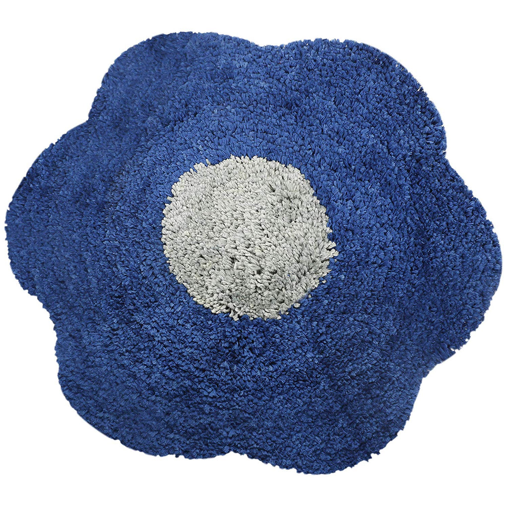 Urban Hues Blue Unique Flower Shape Kid's Design Soft Shaggy Doormat