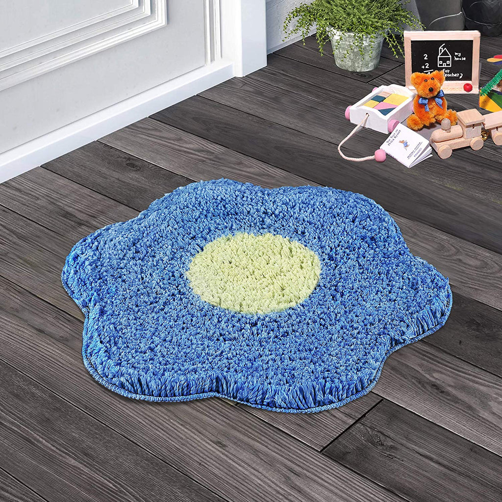 Urban Hues Green & Sky Blue Unique Flower Shape Kid's Design Soft Shaggy Doormat