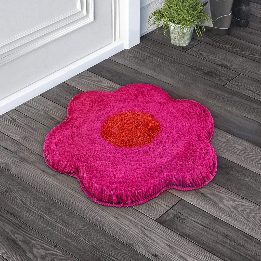 Urban Hues Pink Unique Flower Shape Kid's Design Soft Shaggy Doormat
