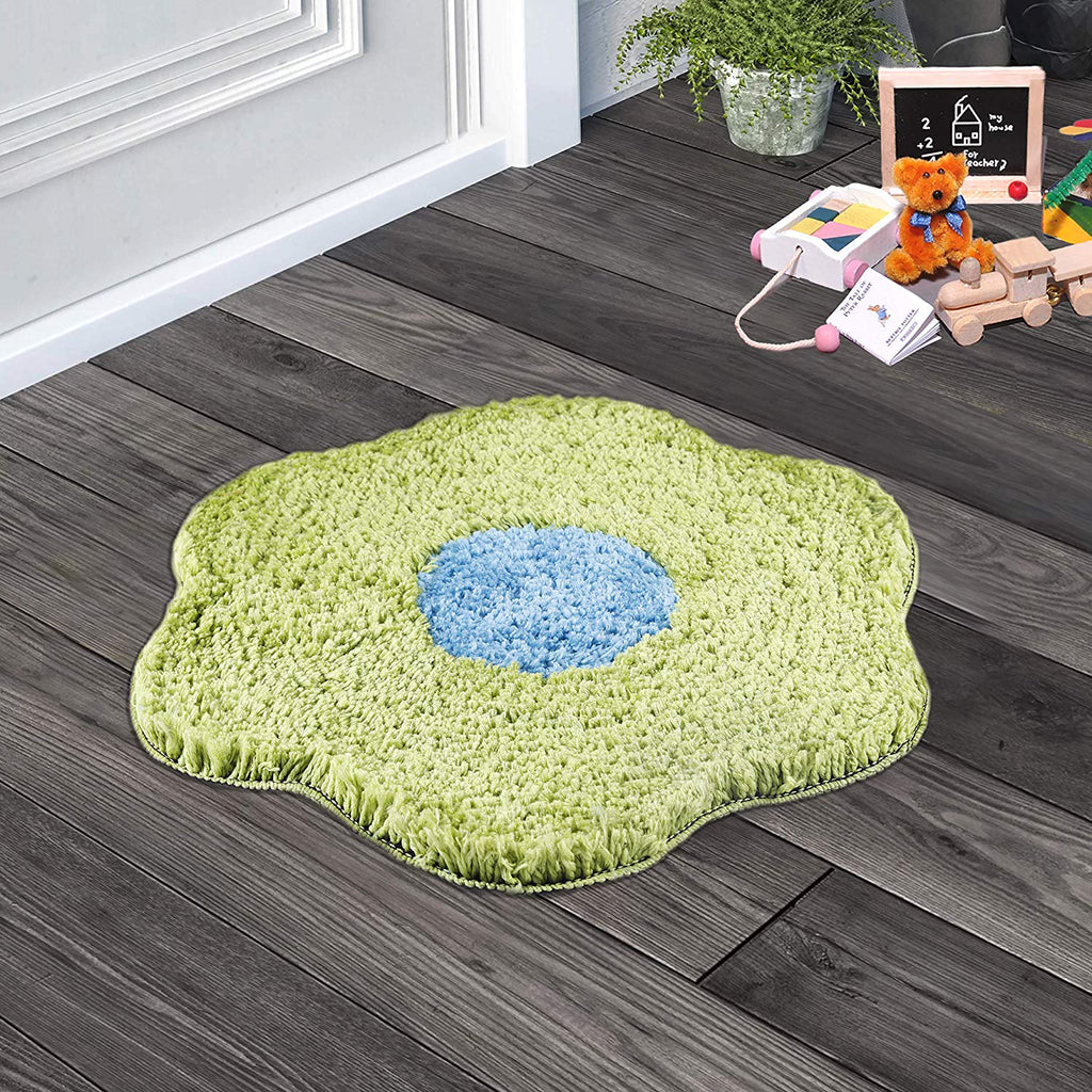 Urban Hues Green Unique Flower Shape Kid's Design Soft Shaggy Doormat