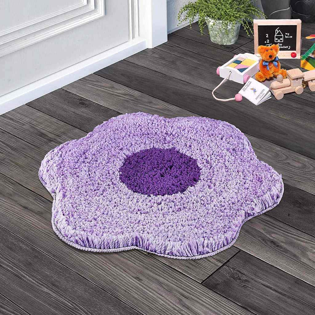 Urban Hues Purple Unique Flower Shape Kid's Design Soft Shaggy Doormat
