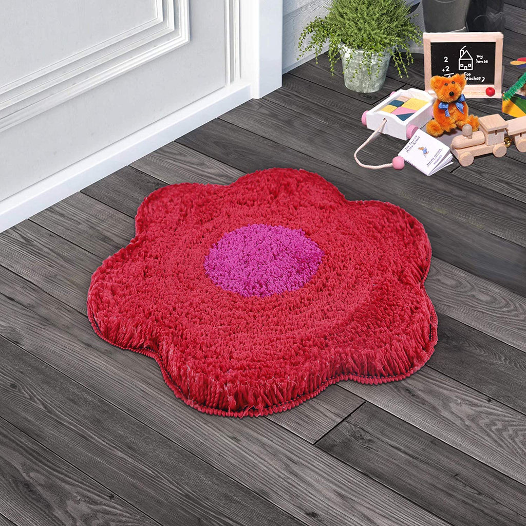 Urban Hues Red Unique Flower Shape Kid's Design Soft Shaggy Doormat