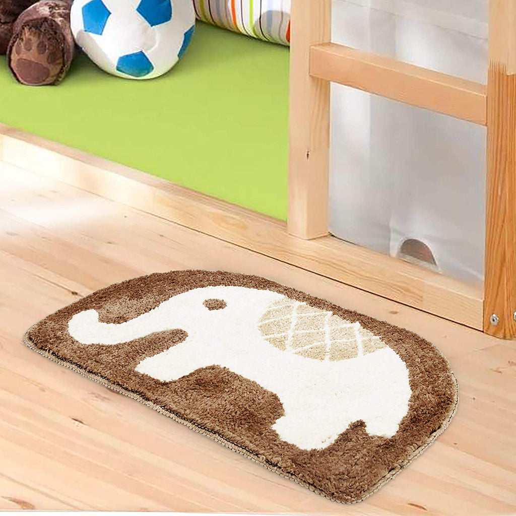 Urban Hues Kid's Cartoon Theme Special White&Brown Elephant Design Shaggy doormat/Rugs-1pc
