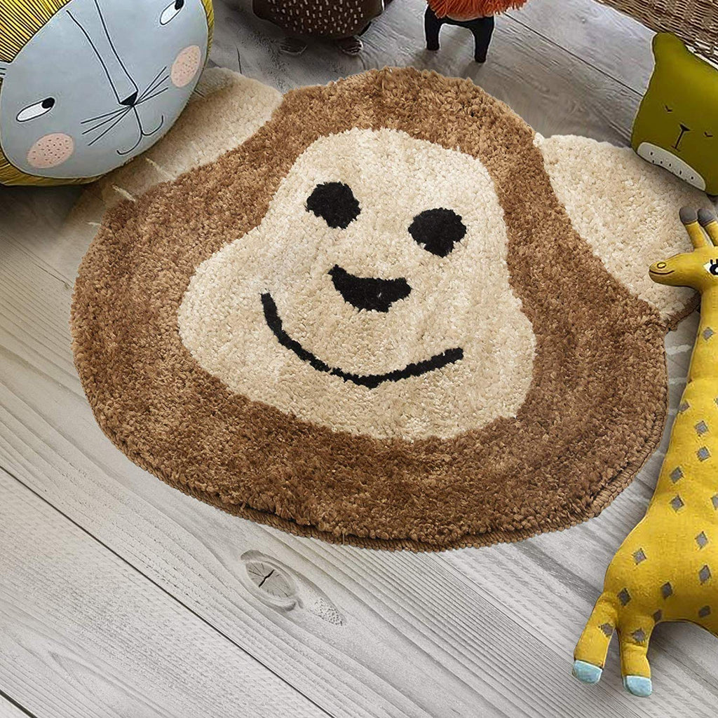 Urban Hues Kid's Cartoon Theme Special Brown Monkey Design Shaggy doormat/Rugs-1pc
