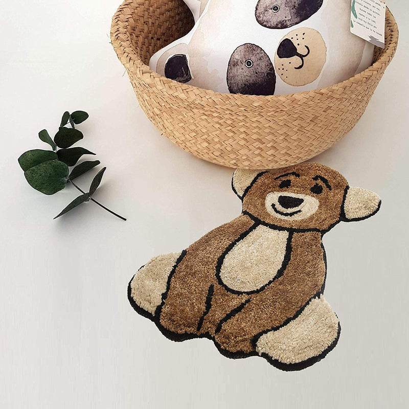 Urban Hues Kid's Cartoon Theme Special Beige&Brown Teddy Bear Design Shaggy doormat/Rugs-1pc