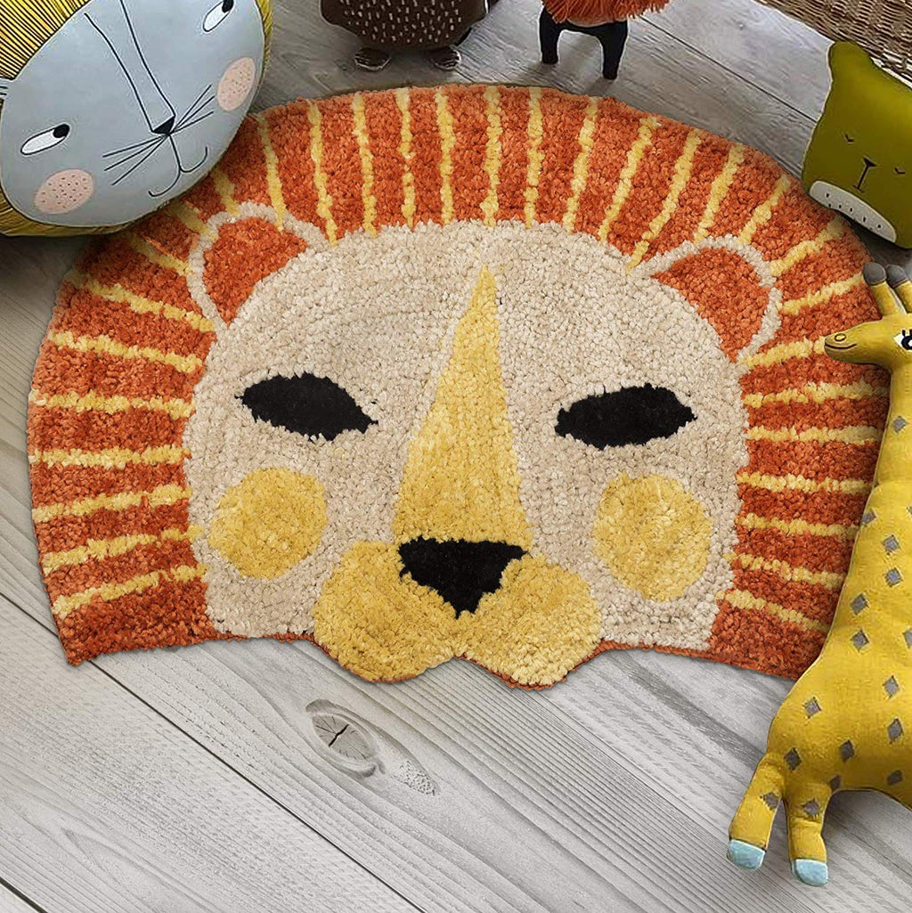 Urban Hues Kid's Cartoon Theme Special Yellow&Orange Lion Design Shaggy doormat/Rugs-1pc