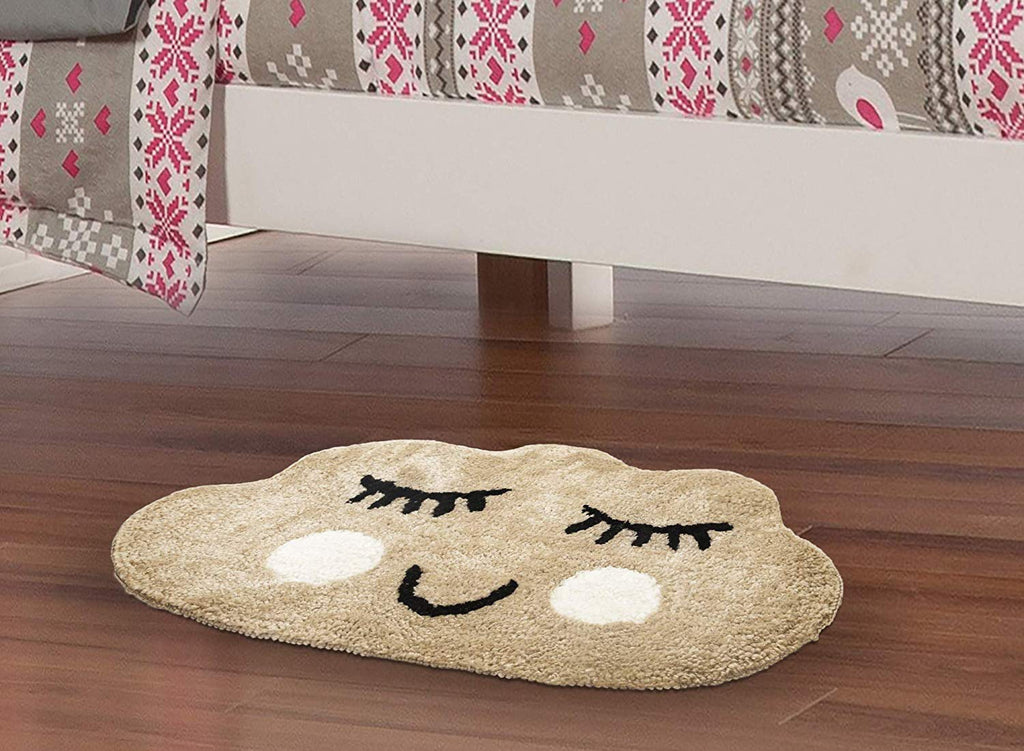 Urban Hues Kid's Cartoon Theme Special Beige Cloud Design Shaggy doormat/Rugs-1pc