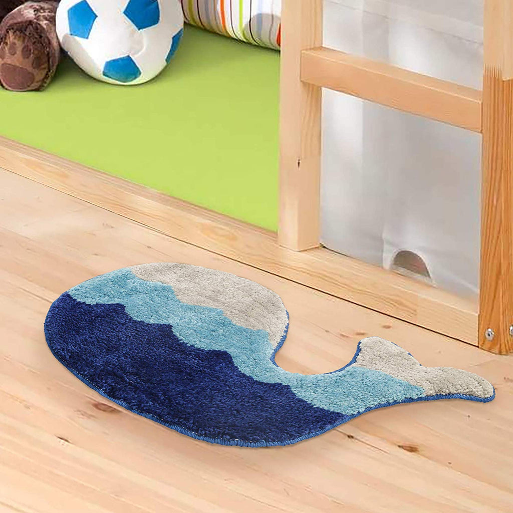 Urban Hues Kid's Cartoon Theme Special Blue Fish Design Shaggy doormat/Rugs-1pc