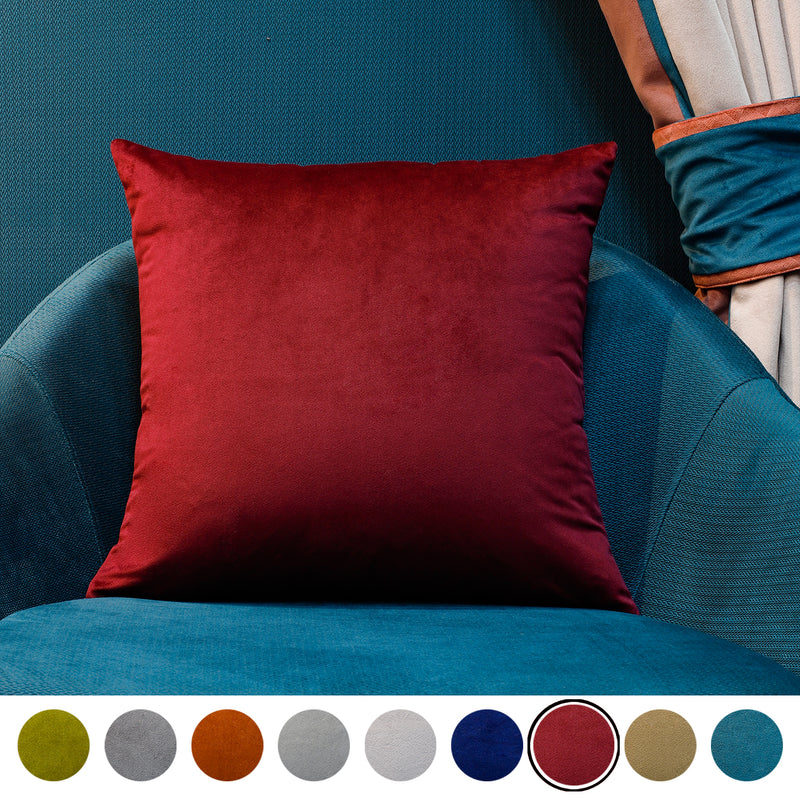 Urban Hues Modern Velvet Cushion Cover Super Soft Pack of 1-(Maroon)