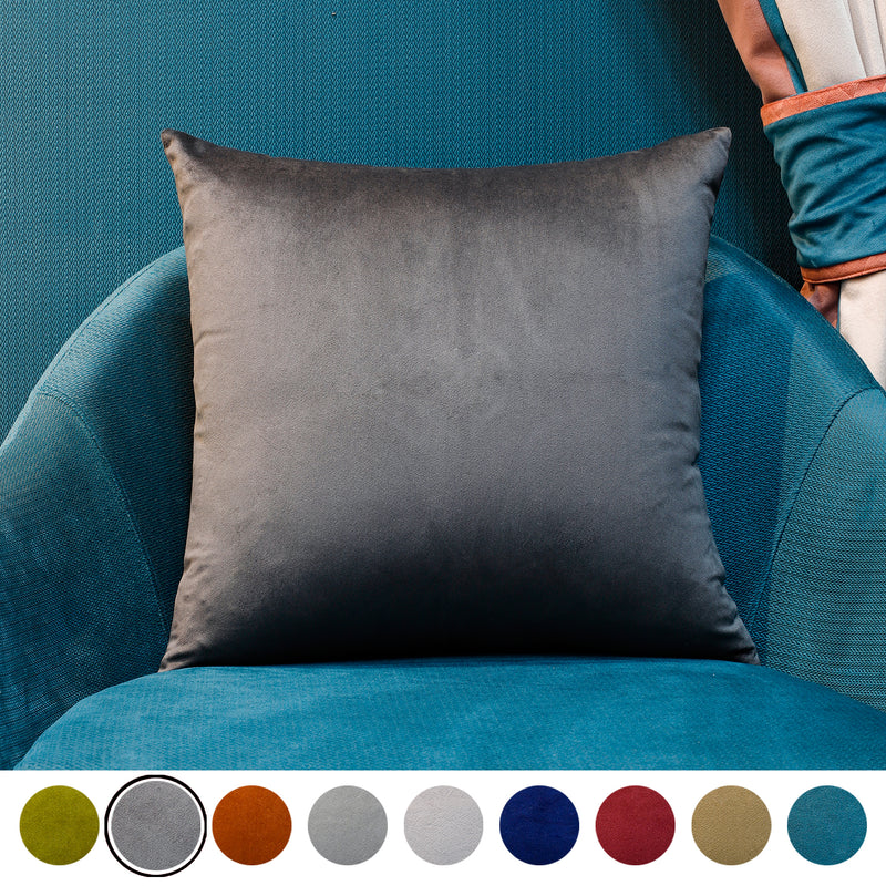 Urban hues Velvet 1 Piece Decorative Plain Cushion Cover Pack of 1-(Grey-Charcoal)