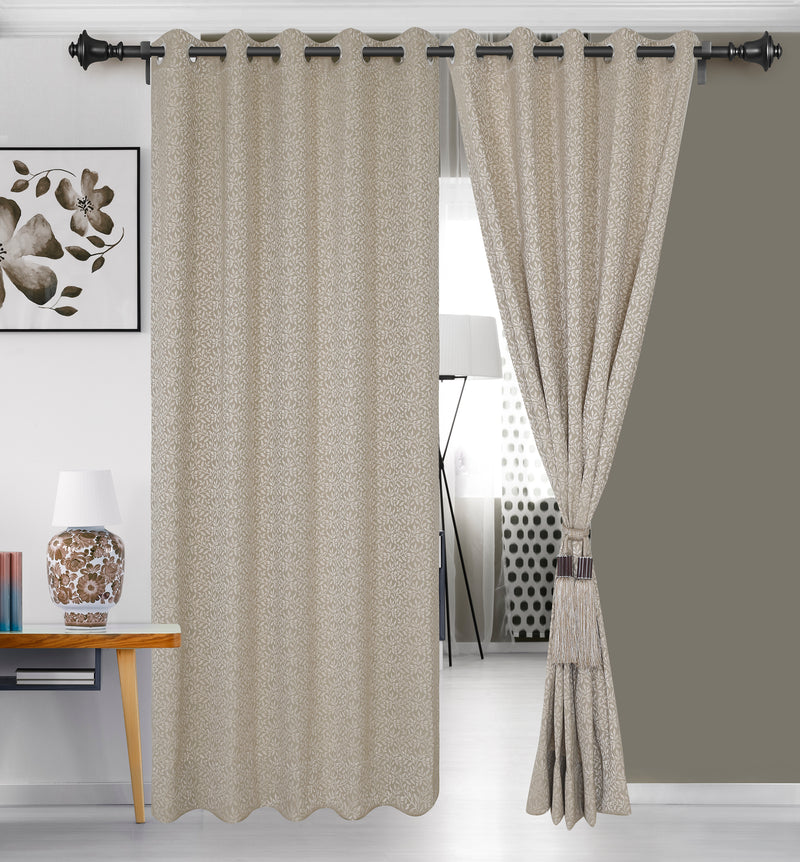 Urban Hues Eyelet 1 Piece Fine Quality Polyester Jacquard Fabric Window,Door Curtain (Cream& Beige-Leaf)