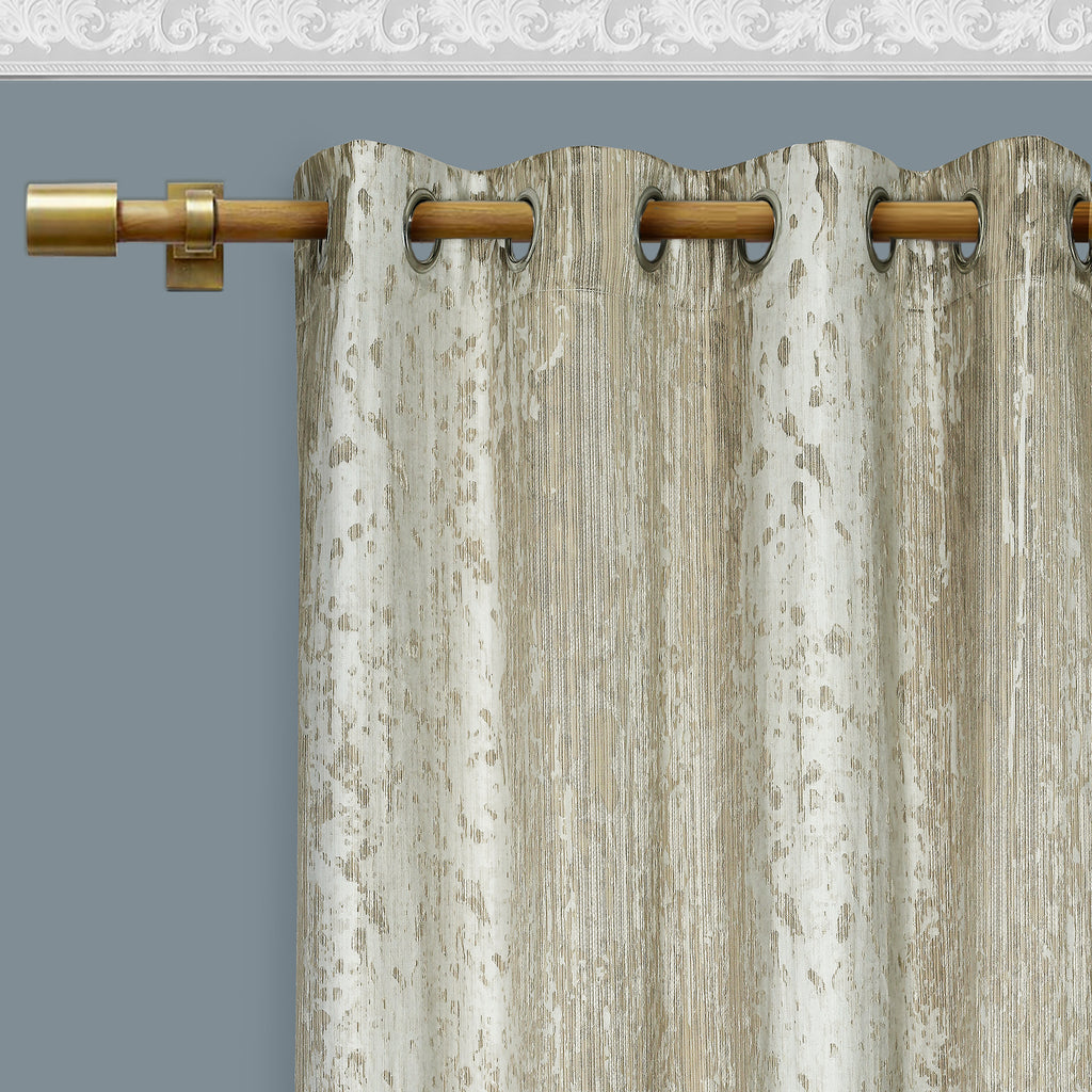 Urban Hues Eyelet 1 Piece Polyester Jacquard Fabric Window , Door Curtain Light Brown & Silver)